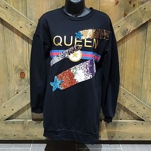 FASHION NOVA QUEEN OVERSIZED BLINGED SWEATSHIRT